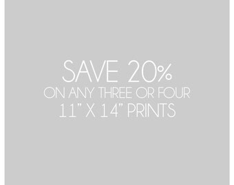 Save 20%, Custom Gallery Wall, Photography Collection, Choose any Three or Four Prints, 11x14, Save on Multiple Prints