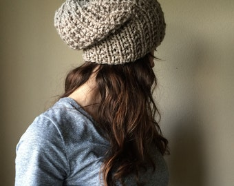 Taupe Knitted Slouch Hat / Neutral Brown Chunky Knit Hat / Vegan Yarn