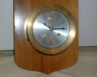 Schatz Ship's Bell German Brass 8 Day 7 Jewel Nautical Wall Clock, Professionally Serviced, Oiled, Beautiful, Runs Well, All Original w/ Key