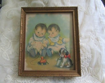 Vintage Framed Print 1930's? Boy Girl Baby Twins Baby Room Decor New Baby Newborn Gift Shower