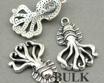 Squid Charms BULK order Antique Silver 20pcs zinc alloy pendant beads 18X28mm CM0511S