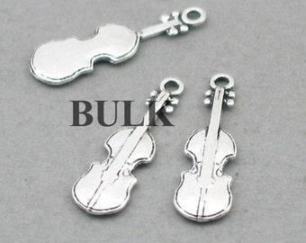 Violin Charms BULK order Antique Silver 40pcs pendant beads 7X23mm CM1010S