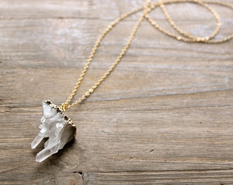 Crystal Cluster Necklace, Long Layer Necklace, White Crystal Stalactites