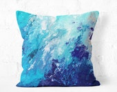 Blue Throw Pillow - Blue and White Decorative Pillow  Designed by Louise Mead Available in 2 Sizes