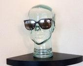 Vintage 80s Classic RARE Opti Ray Horned Rim Black Shell Plastic Eye Glasses Mad Men Retro