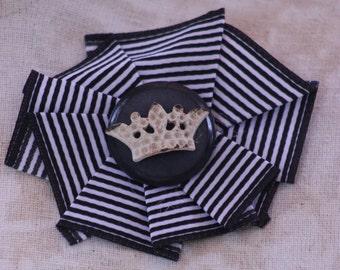 crown ribbon rosette pin