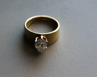 Vintage 1980s 80s 14K Gold GF CZ Cubic Solitaire Ring, Size 8 - 8.25 Ladies