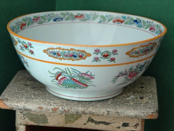 Price Reduced: Rare Antique EDGE, MALKIN & Co, Ca 1871-91 Large Floral POLYCHROME Serving Bowl Made In Burslem, Stoke-on-Trent