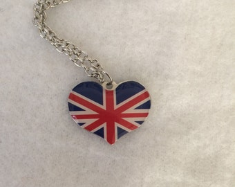 Heart Shaped Union Jack Charm Necklace - Great Britain - England - Anglophile - Flag - Autumn - Fall - Halloween - Costume - Winter - Gift