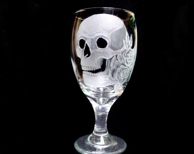 wine glasses skulls and roses set of two hand engraved glass water goblets  custom barware  gift ideas