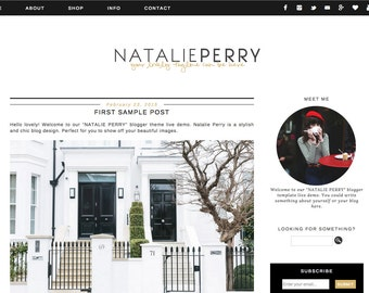 Blogger Template Premade Blog Theme Design Natalie Perry - Instant Digital Download, black and gold