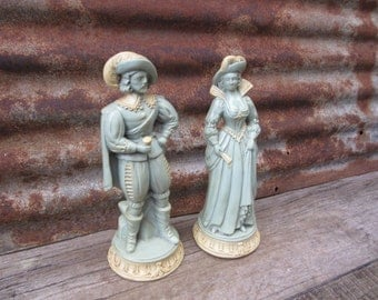 Matched Set of Vintage 1950s Era Statues Man and Woman Renaissance 1600s Era Style Painted Blue and Antique White Shabby Plaster Statues