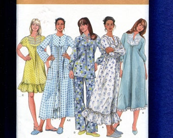 Simplicity 2819 Country Comfort Nightgowns Pajamas & Robe Pattern Size 8 to 16 UNCUT