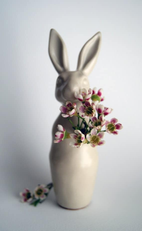 miniature rabbit budvase - hand-made porcelain flower vase