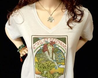V Neck Scarlet Begonias Ladies Anvil T shirts/ Mucha inspired Mongo Arts lot tee- Hippie Boho chic fashion