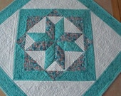 Quilted Table Topper -  Aqua and Coral - Square - Think Spring  - Flowers and Butterflies