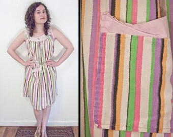 Striped TRAPEZE Dress 1960s // Cotton Sleeveless Lavender Pink Lime