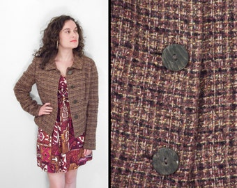 Wool TWEED Blazer 1960s R.H. Stearns Co. Brown Yellow Black White Size Medium
