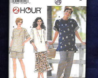 Vintage 1996 Simplicity  7221  Women's Skirt, Pants, Shorts, And Tunic Top With Short Or 3/4 Length Sleeves, Size 18W To 24W, UNCUT