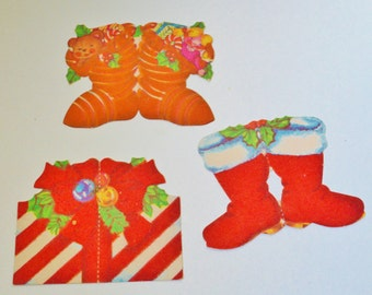 Vintage Lot of 3 Christmas  Gift Tags Santa Boots Gift Red Flocked