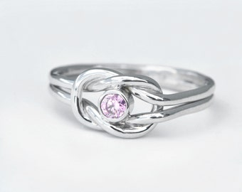 October Birthstone Ring, Pink Gemstone Ring, Infinity Knot Ring, Pink Gemstone Jewelry, Birthstone Jewelry, Promise Ring