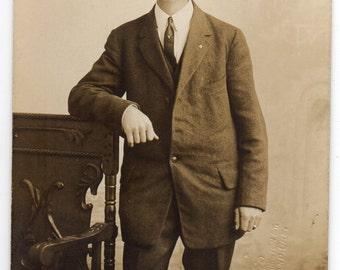 Portland Oregon Victorian Man Wearing Hat Antique Real Photo Postcard Studio Portrait Vintage Fashion Photograph Handsome Gentleman
