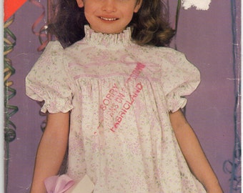 A Line Dress With Neck Ruffle And Yoke Back Button Opening Girls Size 5 6 6x Childrens Sewing Pattern 1985 See And Sew Butterick 5418