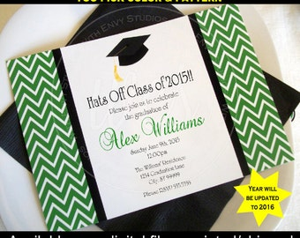 Graduation Party Invitation - Graduation Announcement - Graduation Invite - Class of 2016 - You choose colors and pattern