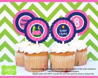Girl Camping Party Circles - Camping Cupcake Toppers - Glam Camping Toppers - Glamping - Digtal & Printed Available