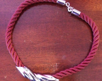 """Small Rope and pendant choker, 15"""" necklace, small Chestnut Colored soft rope choker with silver pendant, silver clasp....."""