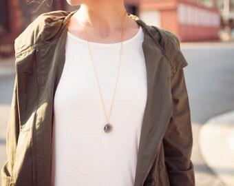 Gemstone Necklace - Long Gray Gemstone Necklace