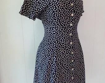 90's French Designer Mini Dress Rayon Grunge Babydoll Button Front Polka Dot Navy Pocket Sundress L
