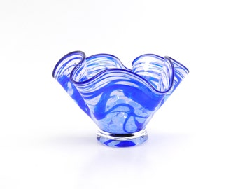 Blue and White Blown Glass Bowl