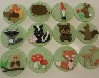 Woodland Animals/ Forrest Friends Fondant Cupcake Toppers