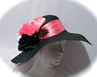 SUMMER SALE>>>>Kentucky Derby Hat Black Sun Hat Women's Hats  DH-127