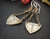 Romantic boho earrings. Stamped brass drop earrings. Delicate bohemian jewelry.
