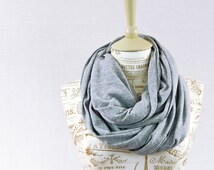 Gray Infinity Scarf, Jersey Heather Circle Soft Long Grey Lightweight Cotton Scarves, Women's Gift for Her, Wife Girlfriend, Most Popular