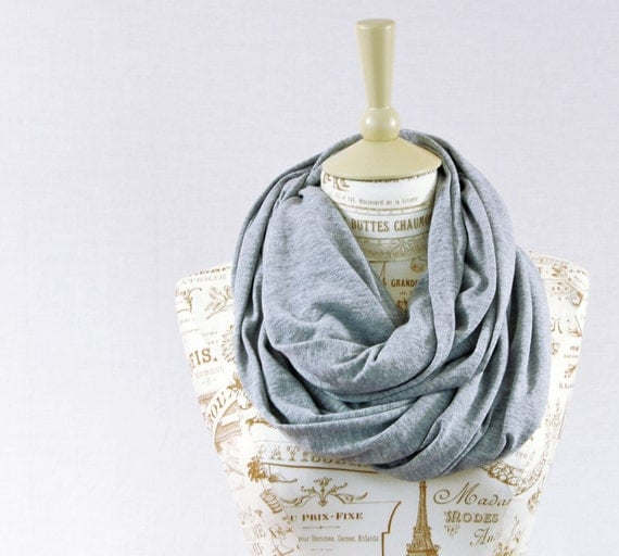 Gray Infinity Scarf, Jersey Scarf Heather Grey Circle Scarf Grey Scarf Jersey Cotton Scarves, Womens Gift for Her Wife Gift Girlfriend Gift
