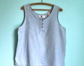 vintage 80s blue chambray cotton tank / womens size large