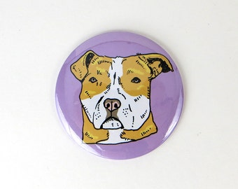 Red pit bull button magnet, refrigerator magnet, red and white pit bull magnet