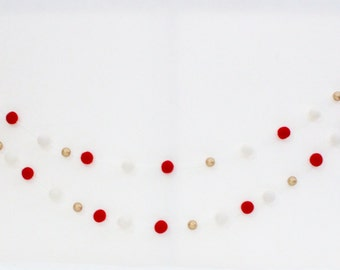 Candy Cane Sparkle Christmas Garland- Red, White, Gold Garland- Christmas mantle decor-Christmas tree Garland- Xmas Garland- Red White Decor