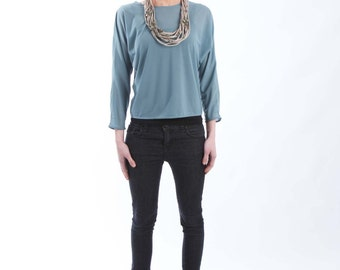 Seafoam Semi Sheer Jersey Top with Kimono Sleeves