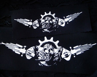 Industrial Mechanical Skull Military Cyber Punk Goth Patch - White, Black