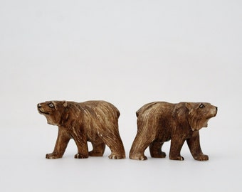 Vintage Miniature Bear Figurines - Carved Resin Brown Bear Miniature Zoo Animals - Mid Century Toy Figurines Made in Japan