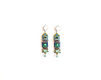 Turquoise square earrings - Coated brass - swarovski crystals - metal elements - glass beads - Alpaka metal - hand-made by ADAYA Jewelry