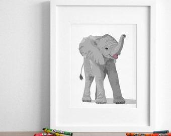 Elephant art print, Elephant nursery artwork, baby jungle animal print, safari childrens ilustration - simple modern nursery art