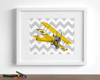Baby boy nursery art -vintage airplane art prints - Sopwith Camel - pick your colors - planes aircraft - children's art print