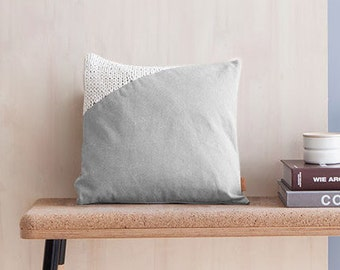 gray pillow cover - made of cotton twill with an off-white knit insert - made of lambswool