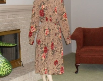 Skirt Set Plus Size Blouse and Skirt Size 18 20 Vintage Office Church Clothing Tan with Orange Roses
