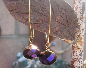 Large Faceted Boho Beads with Purple and Brown Finish on Long Gold Tone Pierced Ear Wires